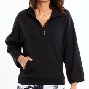 Lucy Workout Sweater Zip Hoodie Pocket Black